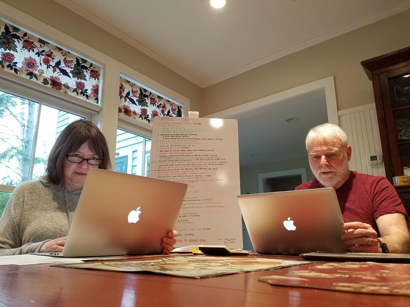 Rebecca Reynolds and Jim Carpenter work on their podcast 'Hollywood and Crime' from their home in Leland.