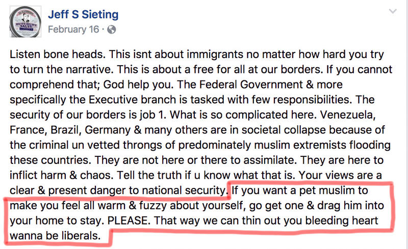 Kalkaska Village President Jeff Sieting frequently posts anti-Muslim rhetoric on his personal Facebook page.