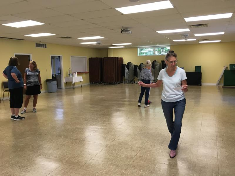 Jacquie Gwyn practices new choreography before she teaches her line dancing class in Interlochen.