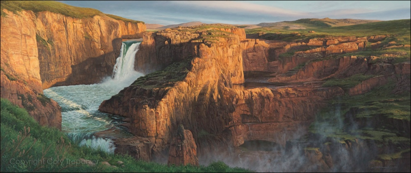 "A painting of Wilberforce Falls, which is located north or the Arctic Cirlce in Canada. Cory Trépanier was inspired to paint the Canadian north in his project, ""Into the Arctic."""