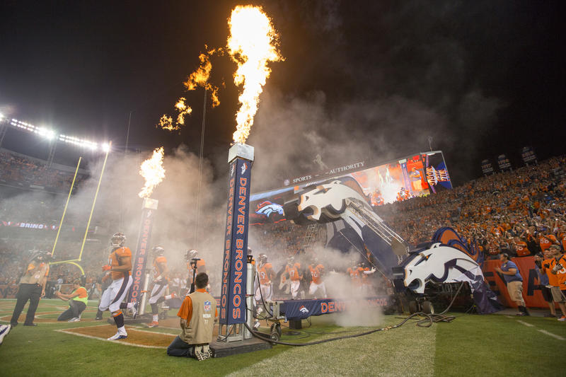 Paul Britten designed the new player entry tunnel for the Denver Broncos.