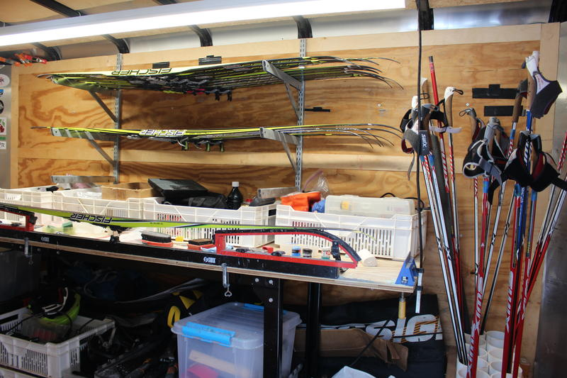 Inside Eli Brown's ski trailer, he keeps an assortment of skis, poles and wax.