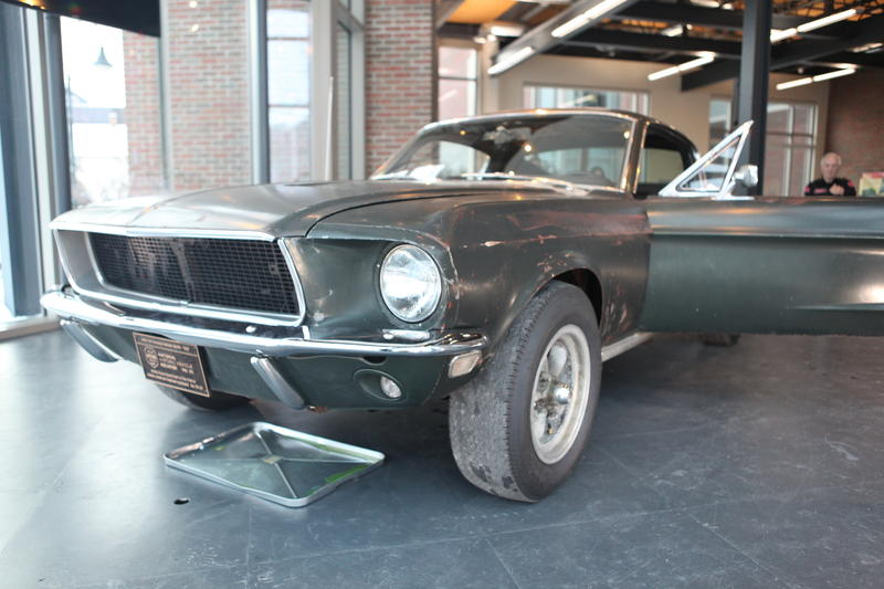 "The 1968 Mustang Fastback used in the film ""Bullitt"" is on display at the Hagerty Insurance building in Traverse City."
