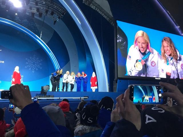 Traverse City's Eli Brown was there to photograph American cross-country skiers Kikkan Randall and Jessie Diggins receive their Olympic gold medals.