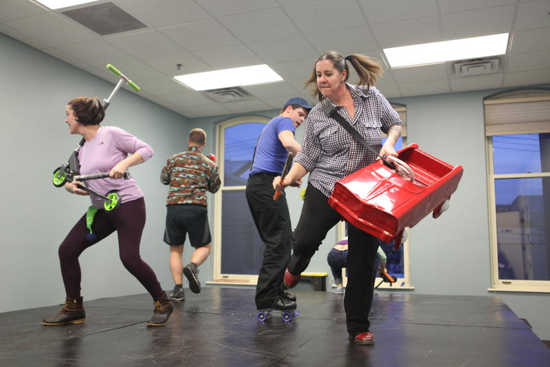"Cast members for Parallel 45 Theatre's production of ""Go, Dog. Go!"" rehearse in Traverse City Wednesday night."