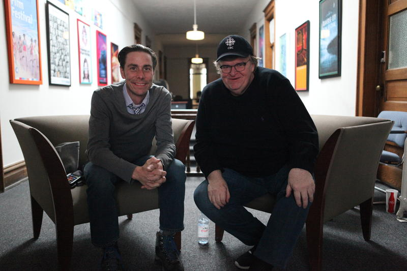 Joe Beyer (right) and Michael Moore in the Traverse City Film Festival offices in downtown Traverse City.