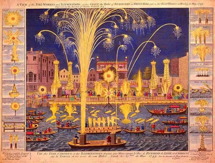 An illustration of bands on barges performing for the ROYAL FIREWORKS, 1749