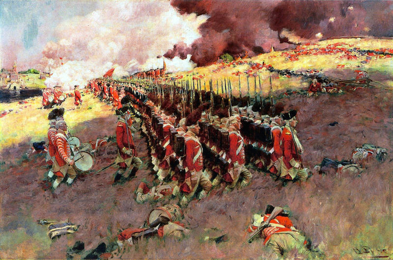 American troops marching at the Battle of Bunker Hill