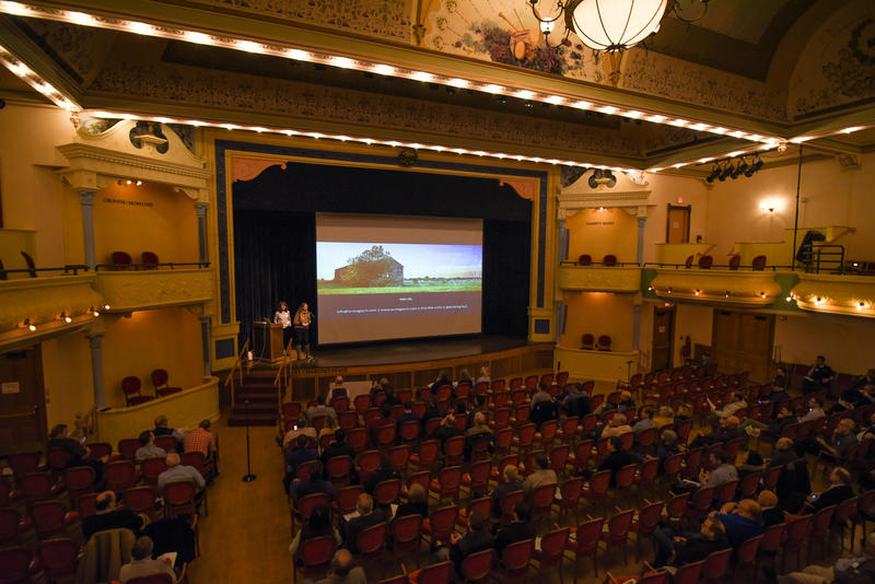 TC New Tech, a monthly gathering of tech entrepreneurs, draws a crowd at the City Opera House in Traverse City.