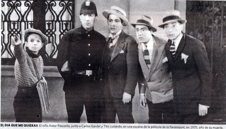 Astor Piazzolla (left, as the paperboy), starred in small part in a 1935 movie featuring his idol, tango legend Carlos Gardel.