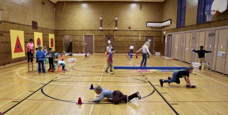 Kindergarteners play in gym class in a northern Michigan school.