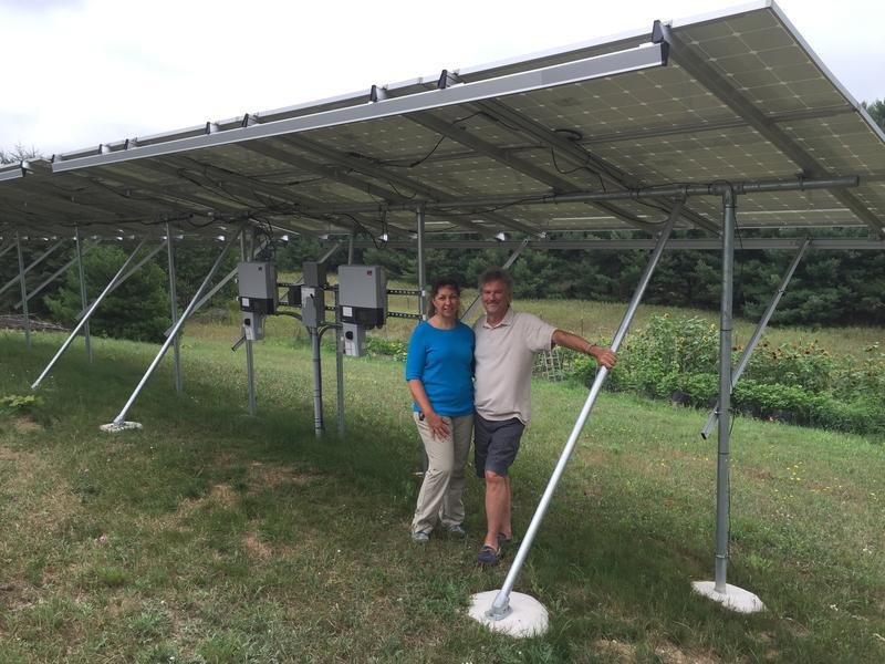 Sharon and Craig Goble in front of their solar array at their home in Manistee County in 2015.