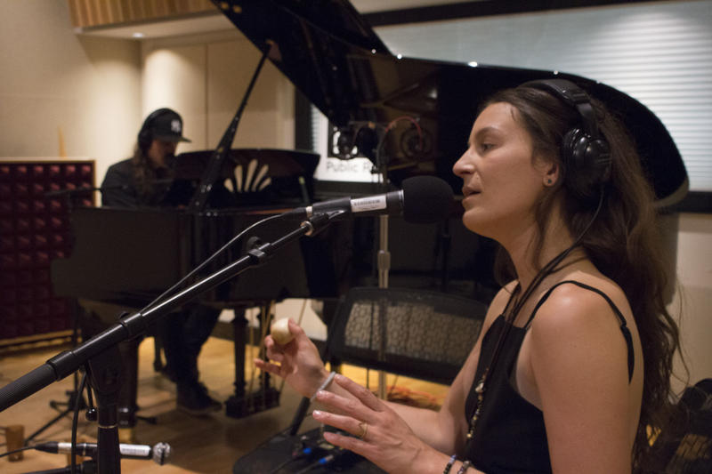 "Jillian Speece (right) and her husband Nathaniel Hoff (left) perform ""Mayflies"" in IPR's Studio A."