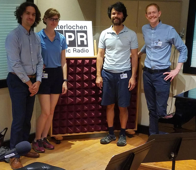 The Friction Quartet performed in IPR's Studio A. (L-R: Otis Harriel, Taija Warbelow, Doug Machiz, Kevin Rogers) Interlochen Public Radio - classical music for kids!