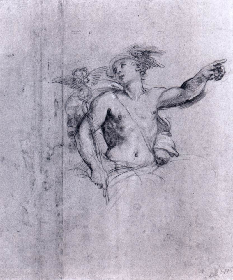 Mercury, messenger of gods, prince of tricksters and bringer of dreams, is in the morning sky an hour before sunrise in the east. Black crayon drawing by Francesco Albani, c. 1609, the same year Galileo first used a telescope to look into the sky.