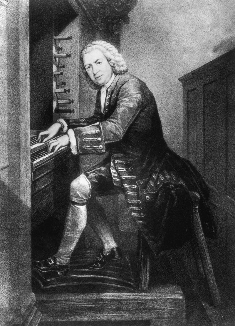 Johann Sebastian Bach plays the organ, in a drawing from the year 1725. Interlochen Public Radio - classical music for kids!