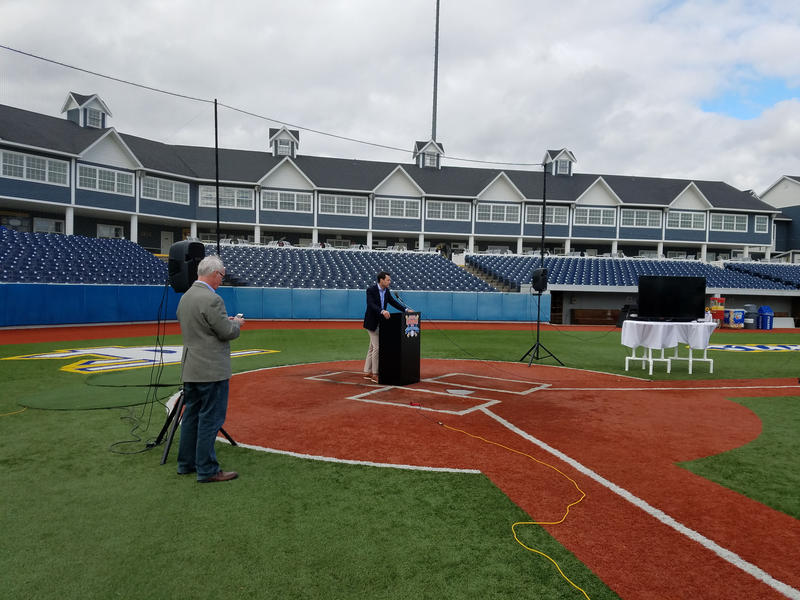 Joe Chamberlin, CEO of the West Michigan Whitecaps, announces the purchase of the Traverse City Beach Bums and Wuerfel Park Wednesday.