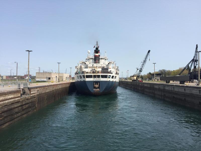 The freighter Tim S. Dool sits in the Poe Lock at Sault Ste. Marie in May 2016.