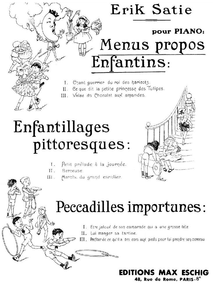 "KC 257: The cover page of Erik Satie's, ""Menus Props Enfantins."""