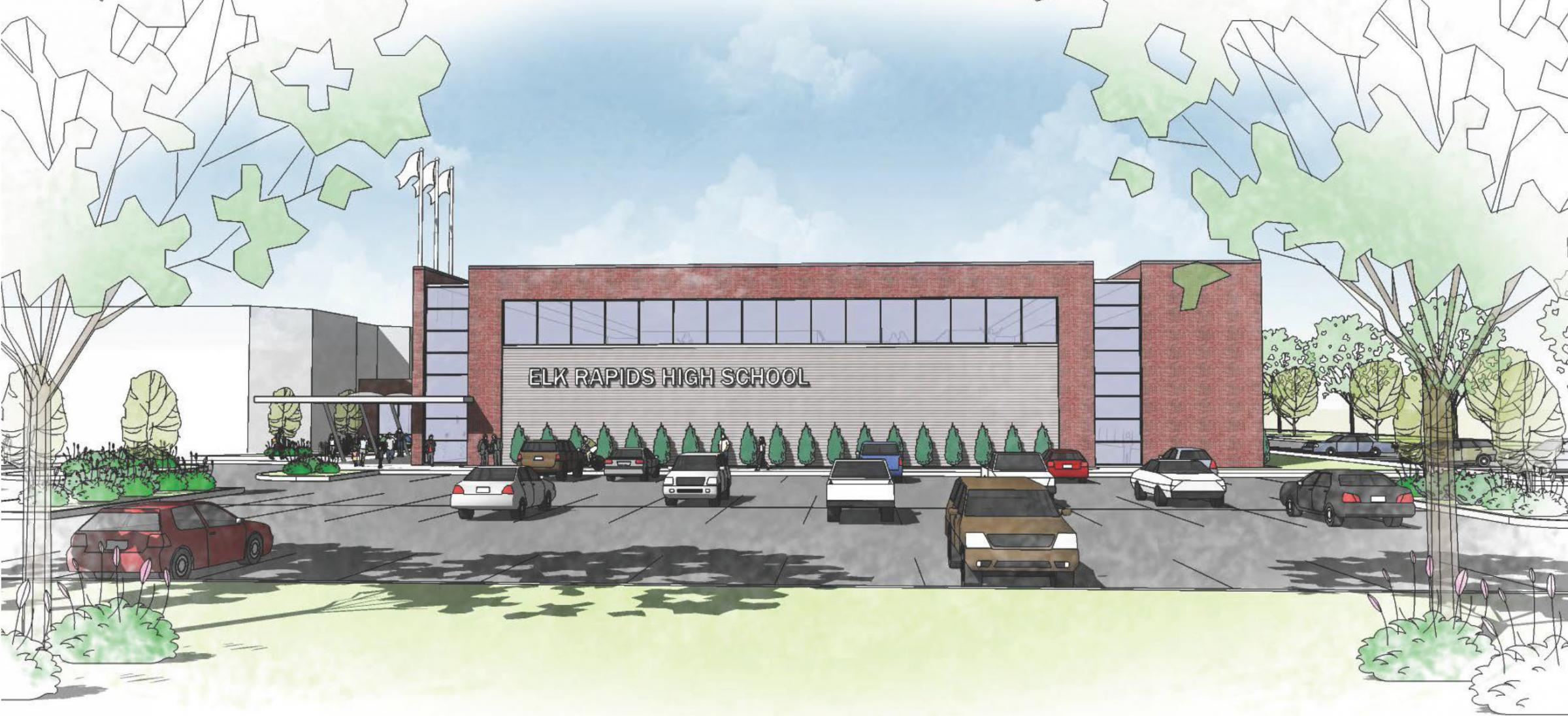 An Exterior Of The Potential New Gym And Main Entrance At Elk Rapids High  School. The Gym Is Part Of The $10.9 Million Bond On Next Weeku0027s Ballot.