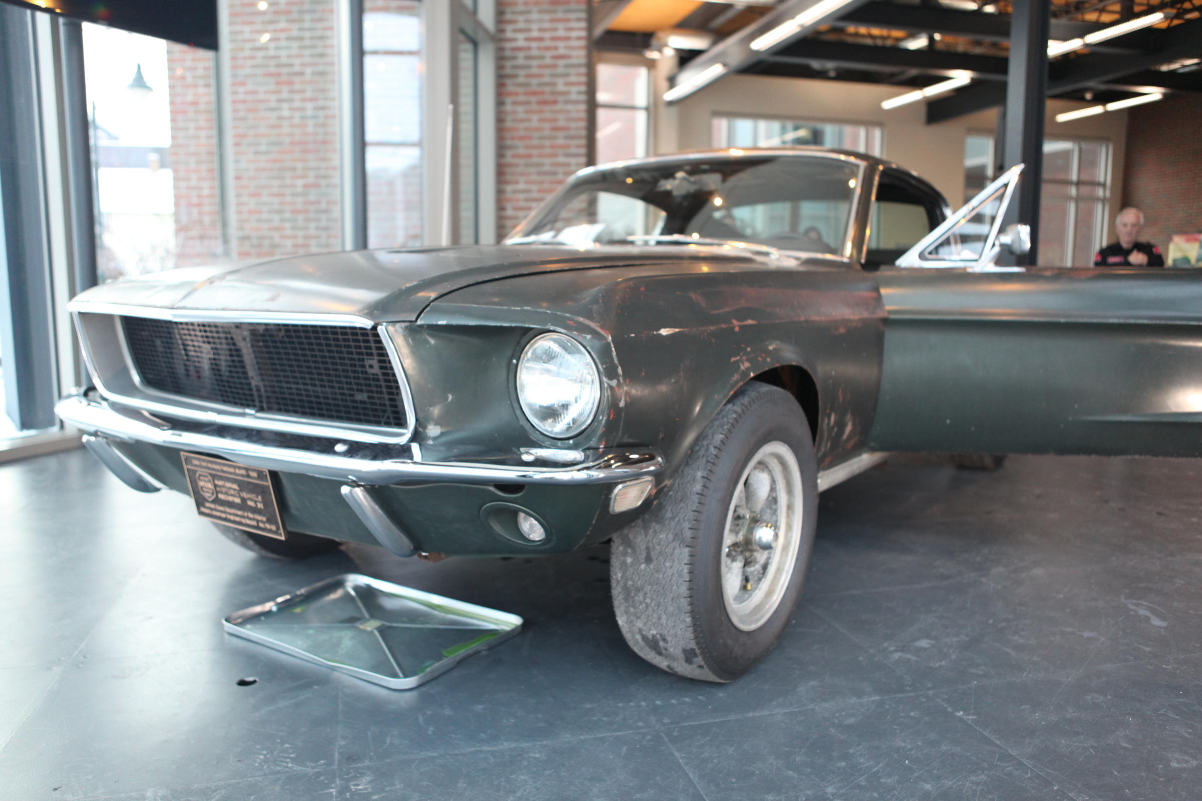 The 1968 mustang fastback used in the film bullitt is on display at the hagerty insurance building in traverse city