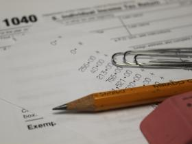 pencil and tax forms