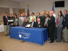 Prairie du Chien Memorial Hospital staff and board members, local and state leaders, and USDA staff.
