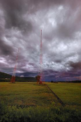Radio transmission towers near La Crosse, Wisconsin