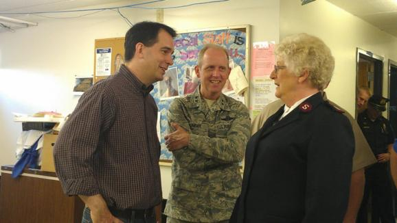 Governor Scott Walker and the Salvation Army&#039;s Major Mattson, in Superior.