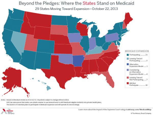 Medicaid expansion map as of 10/22/2013