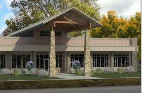 A drawing of the new Rushville Public Library