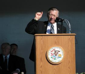 Don Moffitt makes a point during the ceremony while Governor Pat Quinn and Mayor Sal Garza look on