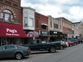The southeast side of Macomb's courthouse square