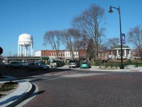 The brick streets around Rushville's Central Park