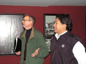 Quincy Director of Planning and Development Chuck Bevelheimer (left) and restaurant owner Noi Sonethongkham