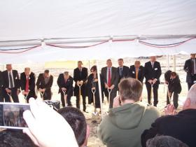 The groundbreaking for Iowa Fertilizer Company in late 2012