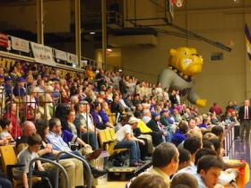 One of the large crowds that have come to Western Hall to see a basketball game.