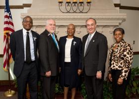 (From Left) Attaché Barongwa Master Baipidi, WIU's Dr. Rick Carter, Ambassador Tebelelo Seretse, Macomb Mayor Mike Inman and Ms. Beatrice Selotlegeng, originally from Botswana currently at Ohio University