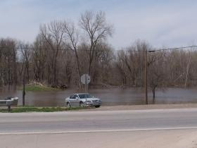 The site of Hamilton's old covered bridge is underwater right now.