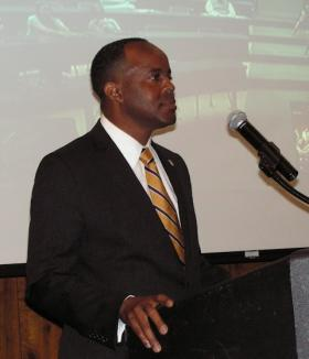 WIU President Jack Thomas listens to a question during the presentation in the University Union