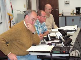 Mayor Mike Inman, Public Workers Director Jason Bainter, and McDonough County ESDA Director Dan Kreps (left to right) during a midday news conference Wednesday
