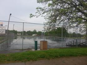 The tennis courts near Keokuk High School are in bad shape.