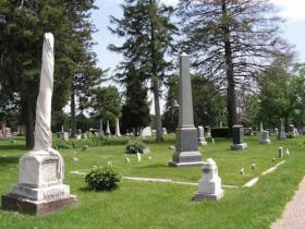 William Randolph's grave (the white marker on the left)