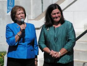 State Representative Jil Tracy (R-Quincy), right, with State Representative Norine Hammond (R-Macomb) outside the McDonough County Courthouse