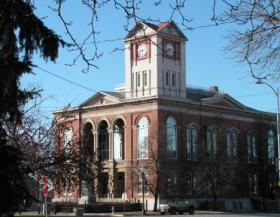 The Schuyler County Courthouse in downtown Rushville