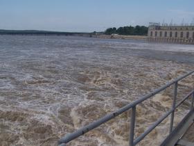 Water rushing through the dam