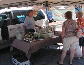 Mary Jo Decounter selling Produce at the Macomb Farmers Market.