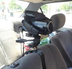 The camera rig in Skelton's car