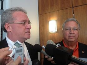 Jim Durkin and Raymond Poe presented a united front after the closed-door caucus meeting.