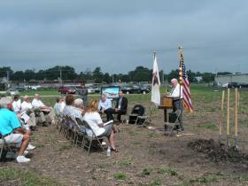 Bushnell Mayor Jim Evans speaking during Tuesday's ceremony